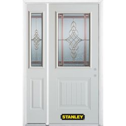 Stanley Doors 48.25 inch x 82.375 inch Milano Brass 1/2 Lite 1-Panel Prefinished White Left-Hand Inswing Steel Prehung Front Door with Sidelite and Brickmould