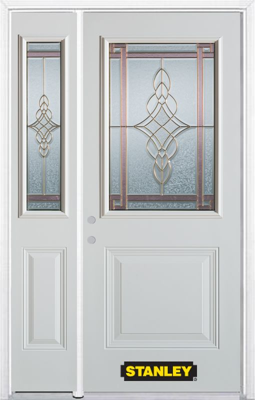 52-inch x 82-inch Milano 1/2-Lite 1-Panel White Steel Entry Door with Sidelite and Brickmould