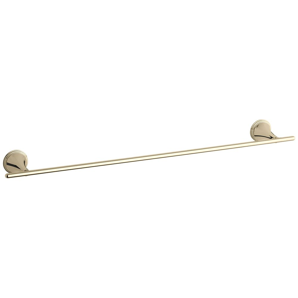 Finial Traditional 24 Inch Towel Bar in Vibrant French Gold