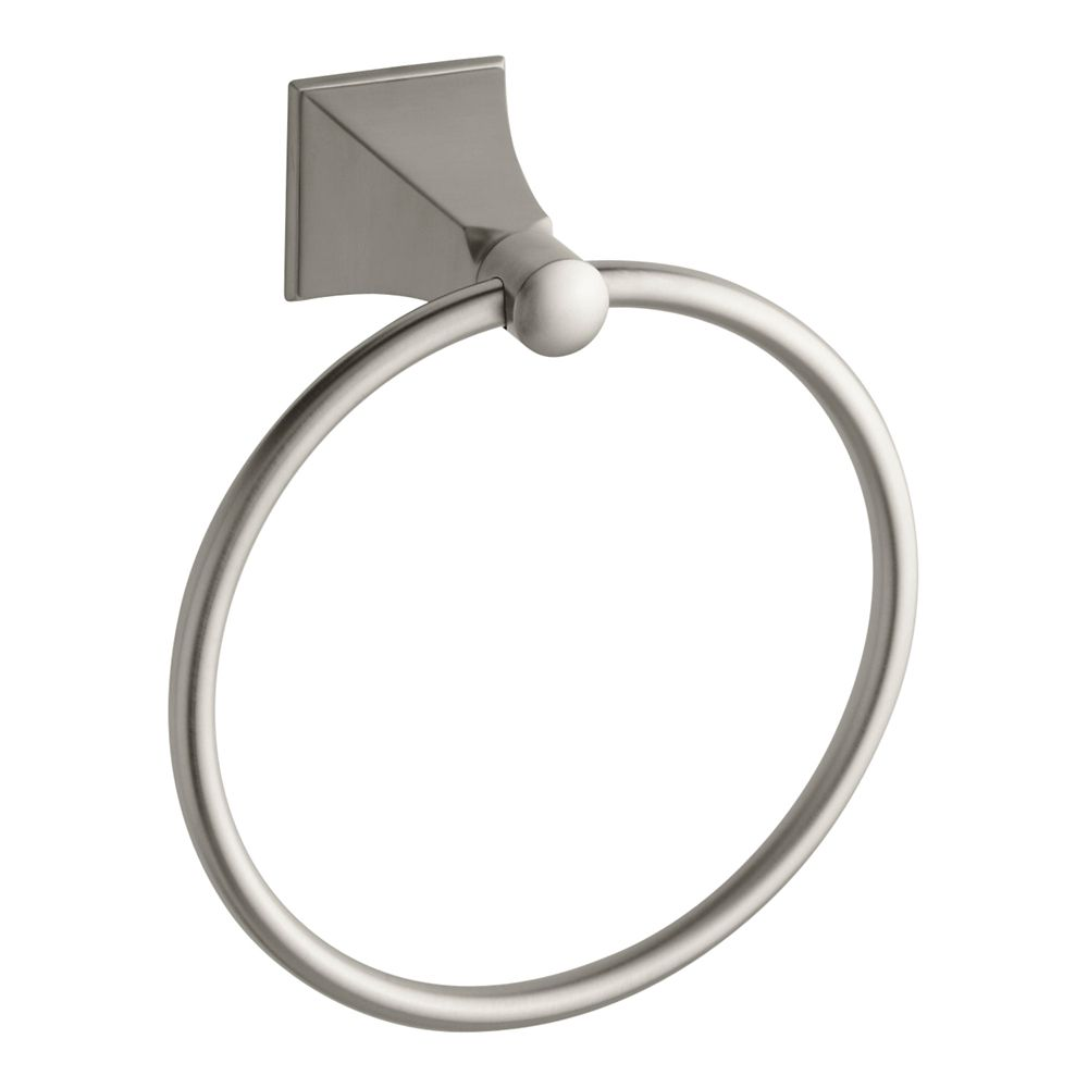 Memoirs Towel Ring With Stately Design in Vibrant Brushed Nickel