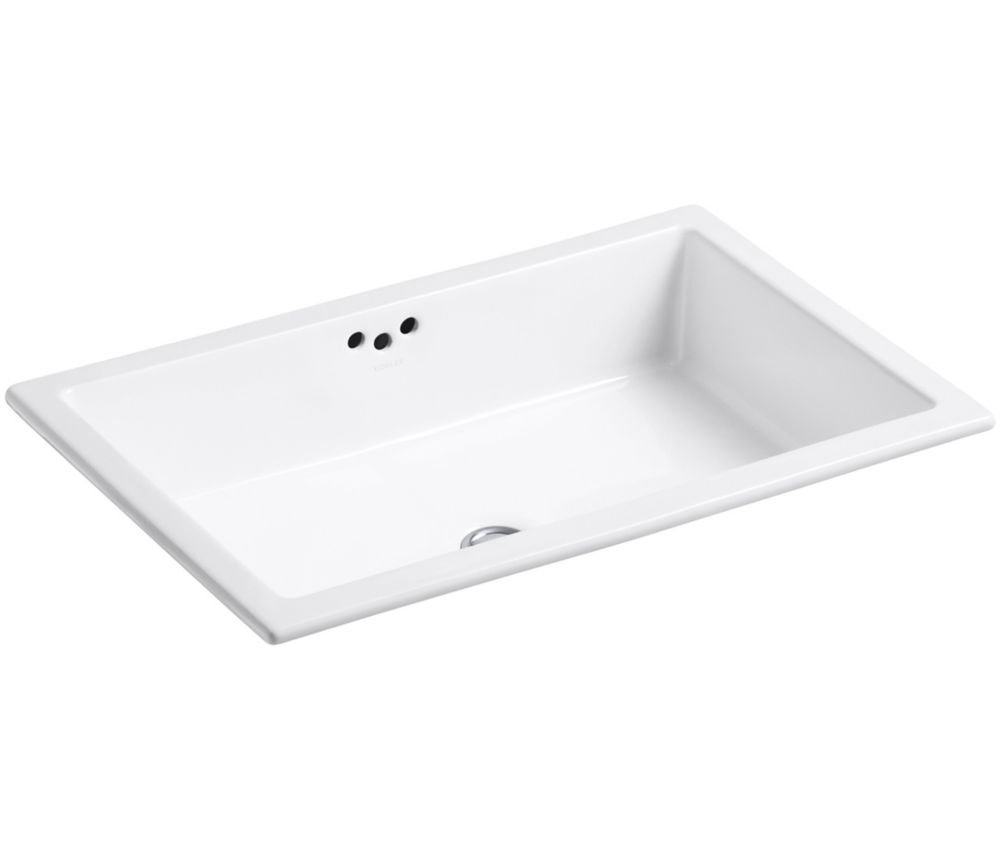 Kathryn Undercounter Bathroom Sink with Glazed Underside in White