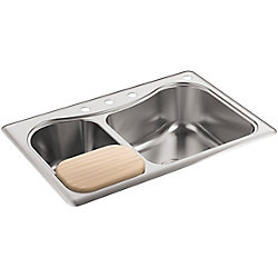 KOHLER Staccato(Tm) Large/Medium Self-Rimming Kitchen Sink