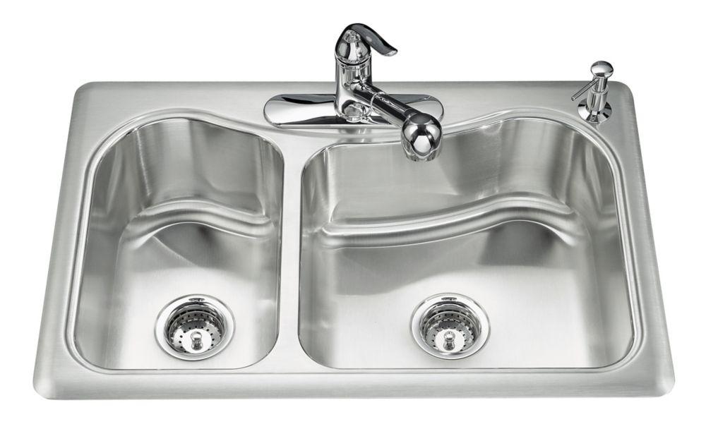 Évier de cuisine à rebord intégré large/moyen Staccato(TM) avec emplacement pour robinet à trois ...