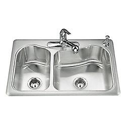KOHLER Staccato(Tm) Large/Medium Self-Rimming Kitchen Sink