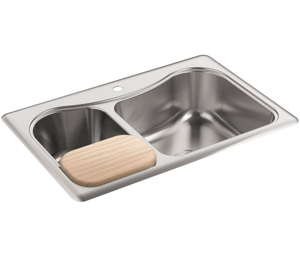 Staccato(Tm) Large/Medium Self-Rimming Kitchen Sink K-3361-1-NA Canada Discount