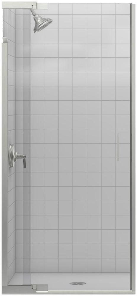 Porte de douche pivot Purist(R) sans cadre avec verre en crystal clair, 30 po - 33 po x 72 po