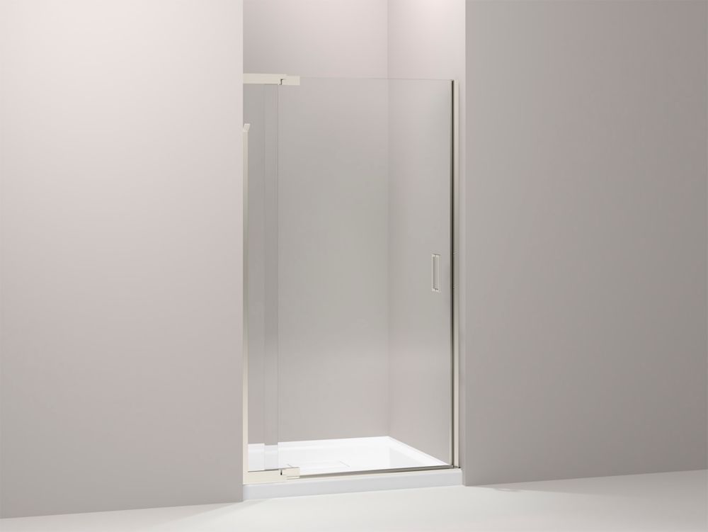 Porte de douche pivot Purist(R) sans cadre avec verre en crystal clair, 39 po-42 po x 72 po