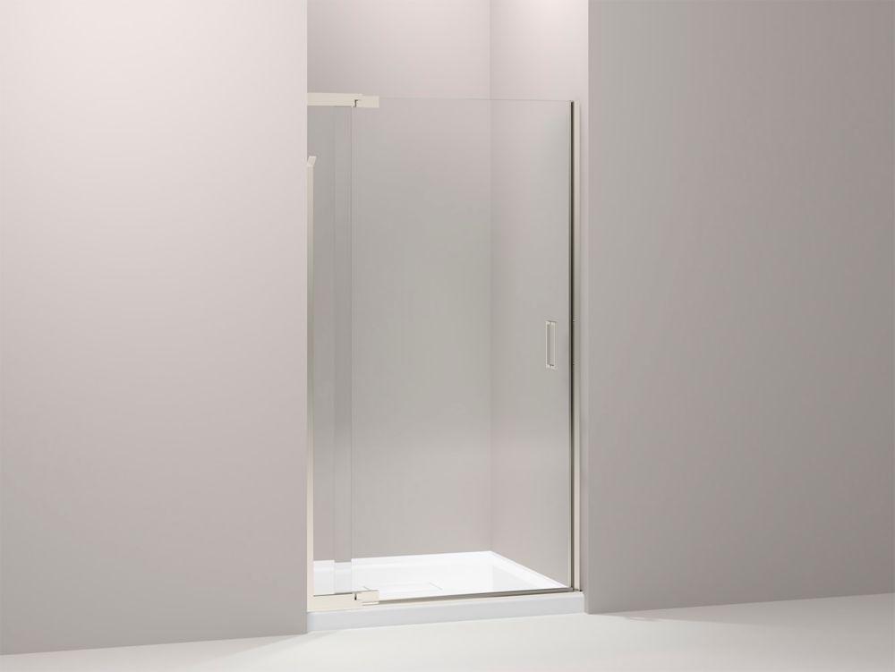 KOHLER Purist Frameless Pivot Shower Door in Vibrant Brushed Nickel