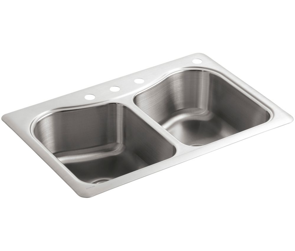 Staccato(Tm) Double-Basin Self-Rimming Kitchen Sink K-3369-4-NA in Canada