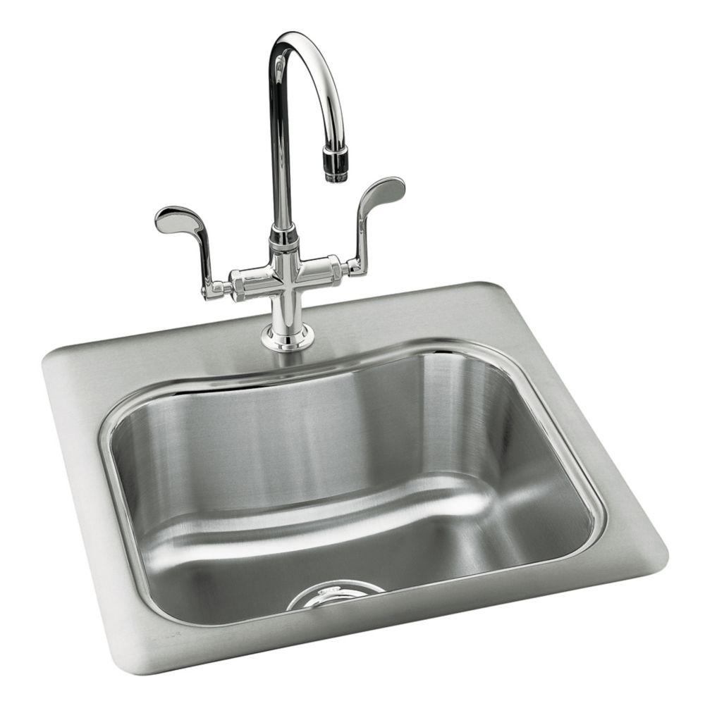 Évier de cuisine de récréation à rebord intégré à bassin unique Staccato(TM) avec emplacement pou...