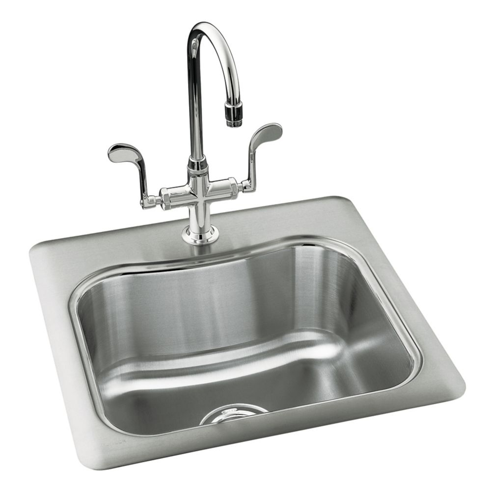 Kohler Single Basin Kitchen Sink : Staccato(Tm) Single-Basin Self-Rimming Entertainment Kitchen Sink ...