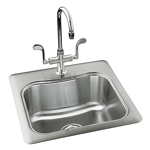 """Staccato(TM) 20"""" x 20"""" x 8-5/16""""top-mount single-bowl bar sink with 3 faucet holes"""
