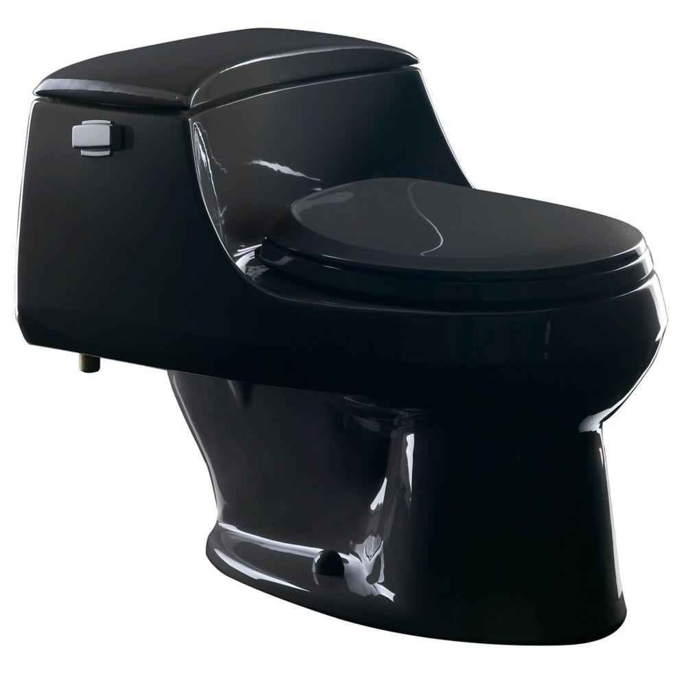 San Raphael� 1-piece 1.6 GPF Single Flush Round Bowl Toilet in Black