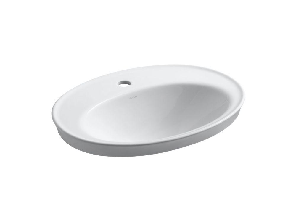 Serif Self-Rimming Bathroom Sink in White