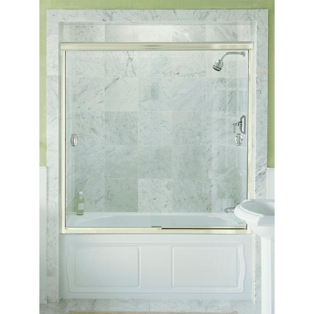 kohler devonshire bypass shower door in bright silver the home depot