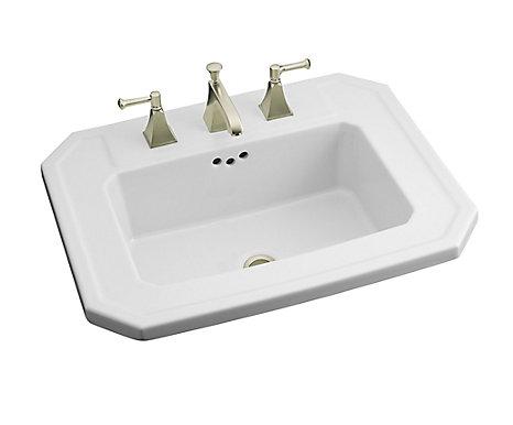 KOHLER Kathryn Self-Rimming Bathroom Sink in White | The Home Depot on kohler vanity sinks, kohler design sinks, kohler pink sink, kohler archer sink, kohler round sink, kohler wash sink, kohler drop-in sinks, kohler brand sinks, kohler sink plug, 30 lavatory sinks, kohler bravura faucet parts, kohler vessel sinks, kohler sink finishes, kohler undermount sinks, kohler demilav sink, kohler kelston sink, kohler wall mount sink, kohler clinic sink, kohler farmhouse sinks, pedestal sinks,