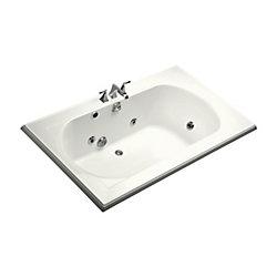 KOHLER Baignoire a hydromassage encastree Memoirs®, 72 x 42 po, avec drain reversible et element chauffant