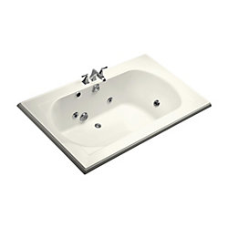 """KOHLER Memoirs(R) 72"""" x 42"""" drop-in whirlpool with reversible drain and heater without jet trim"""