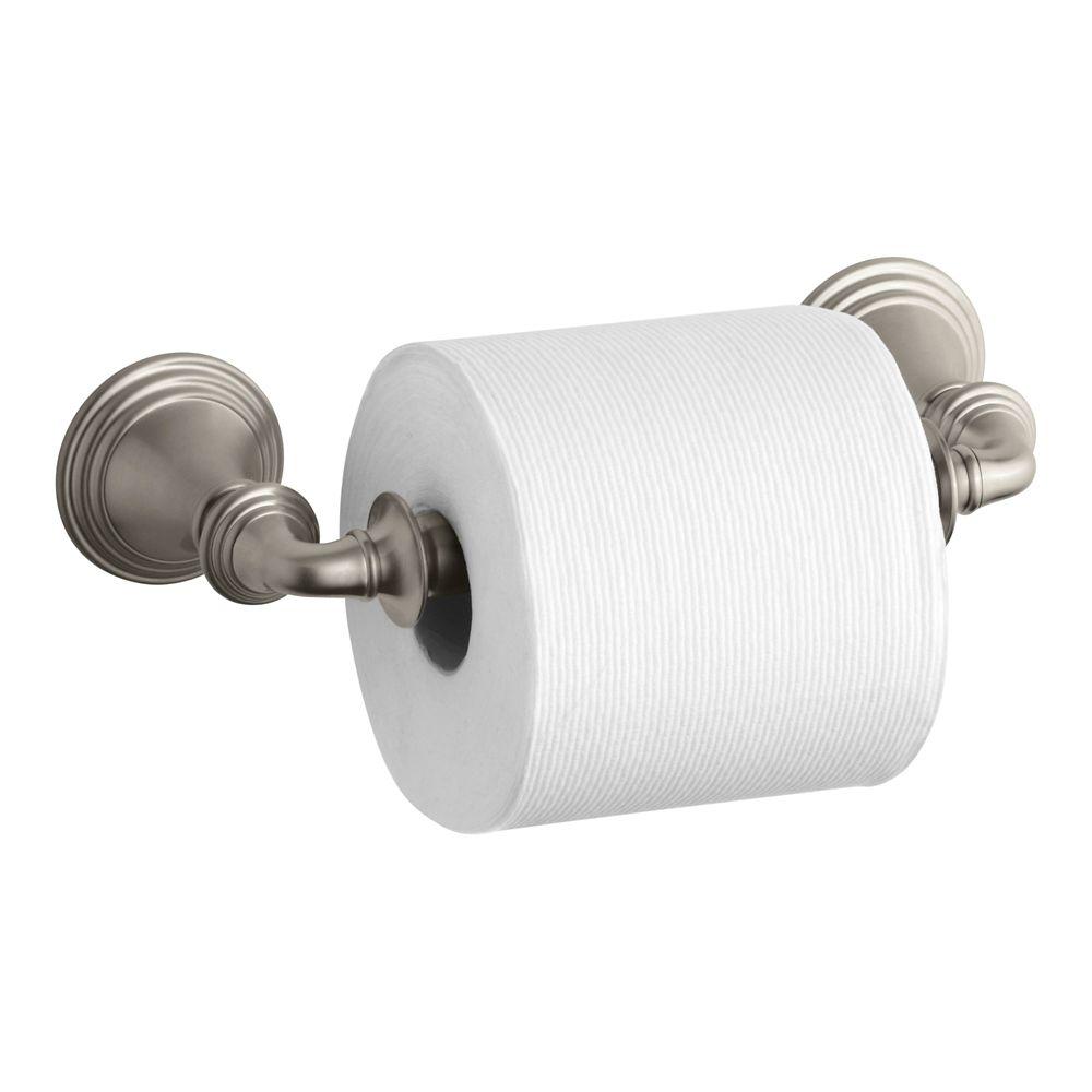 Devonshire Toilet Tissue Holder, Double Post in Vibrant Brushed Nickel