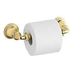 Devonshire Toilet Tissue Holder, Double Post in Vibrant Polished Brass