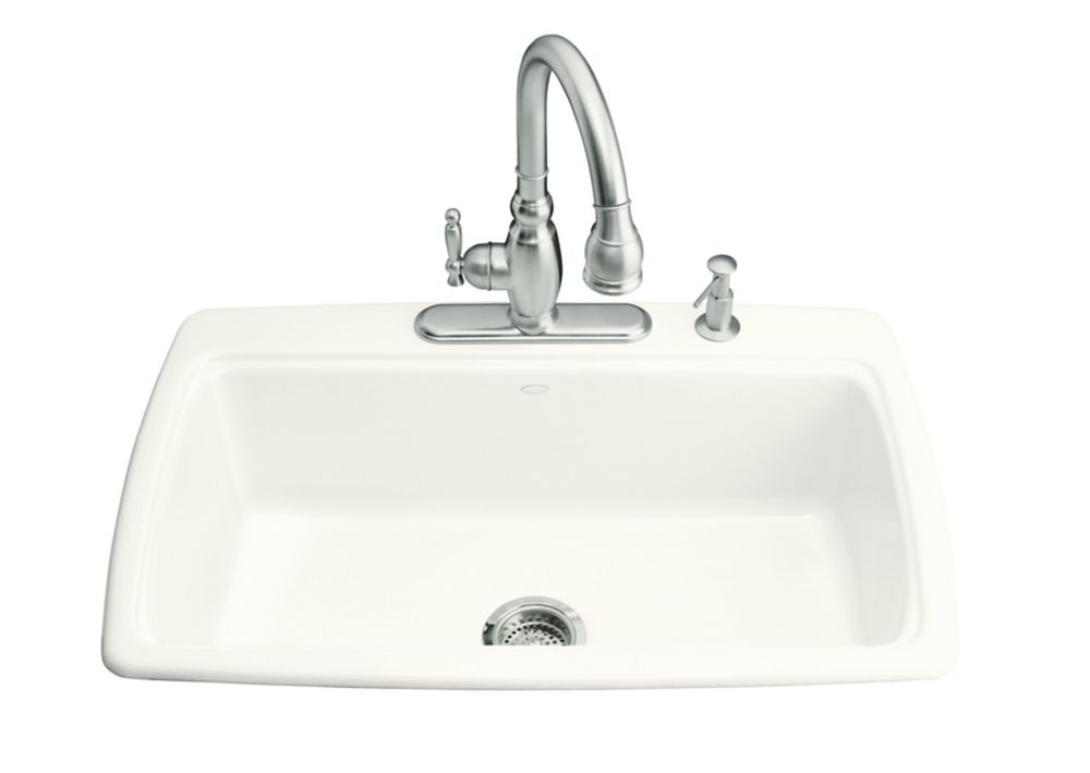 KOHLER Cape Dory Self Rimming Kitchen Sink in White