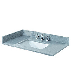 31-inch W Granite Vanity Top in Napoli with White Trough Bowl and 8-inch Faucet Spread