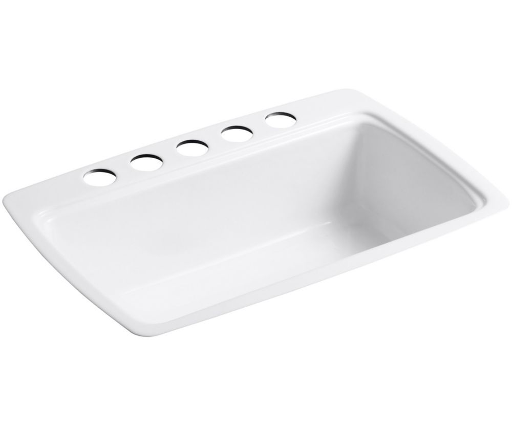 KOHLER Cape Dory Undercounter Kitchen Sink in White The