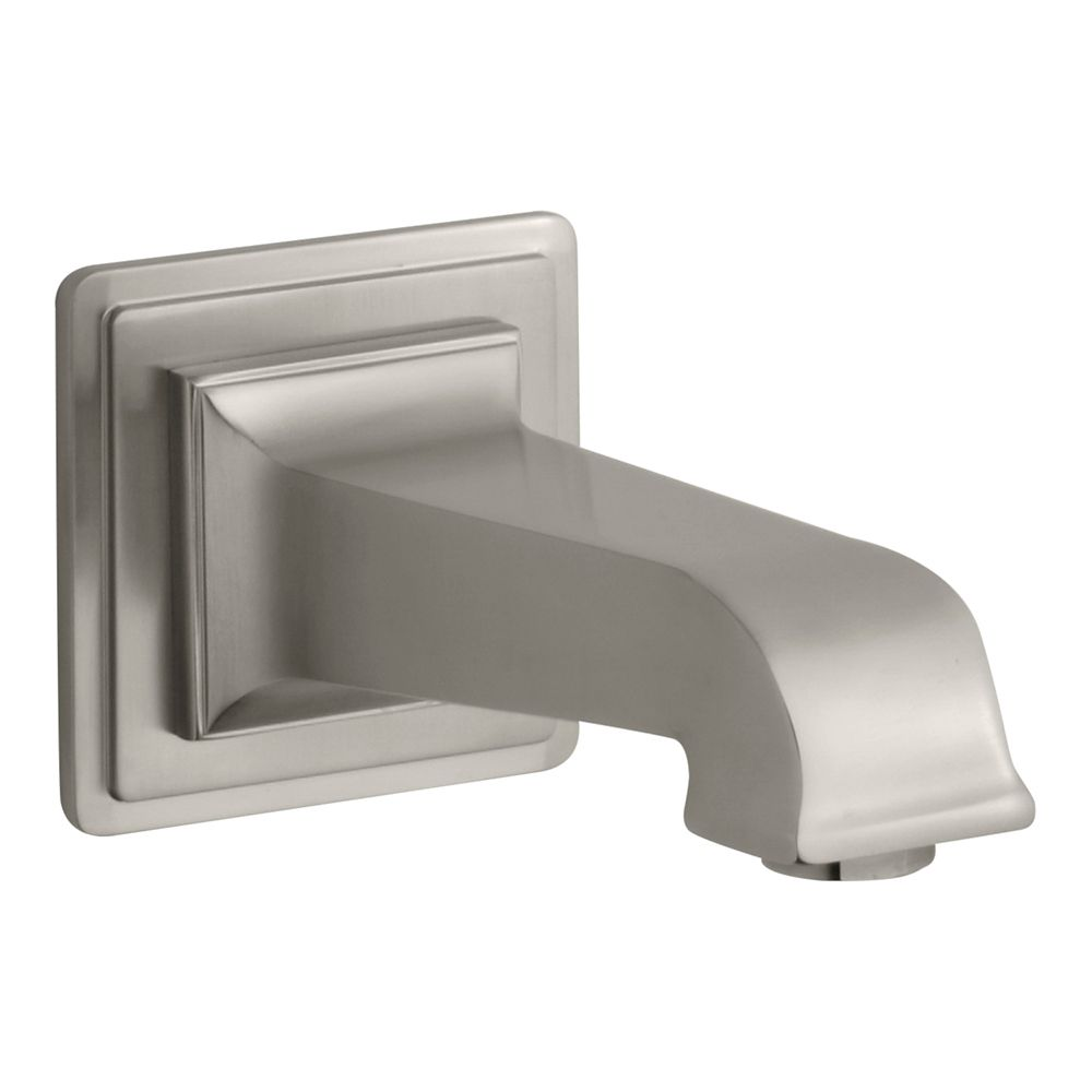 Pinstripe Pure Wall-Mount, 6-7/8 Inch Non-Diverter Bath Spout in Vibrant Brushed Nickel
