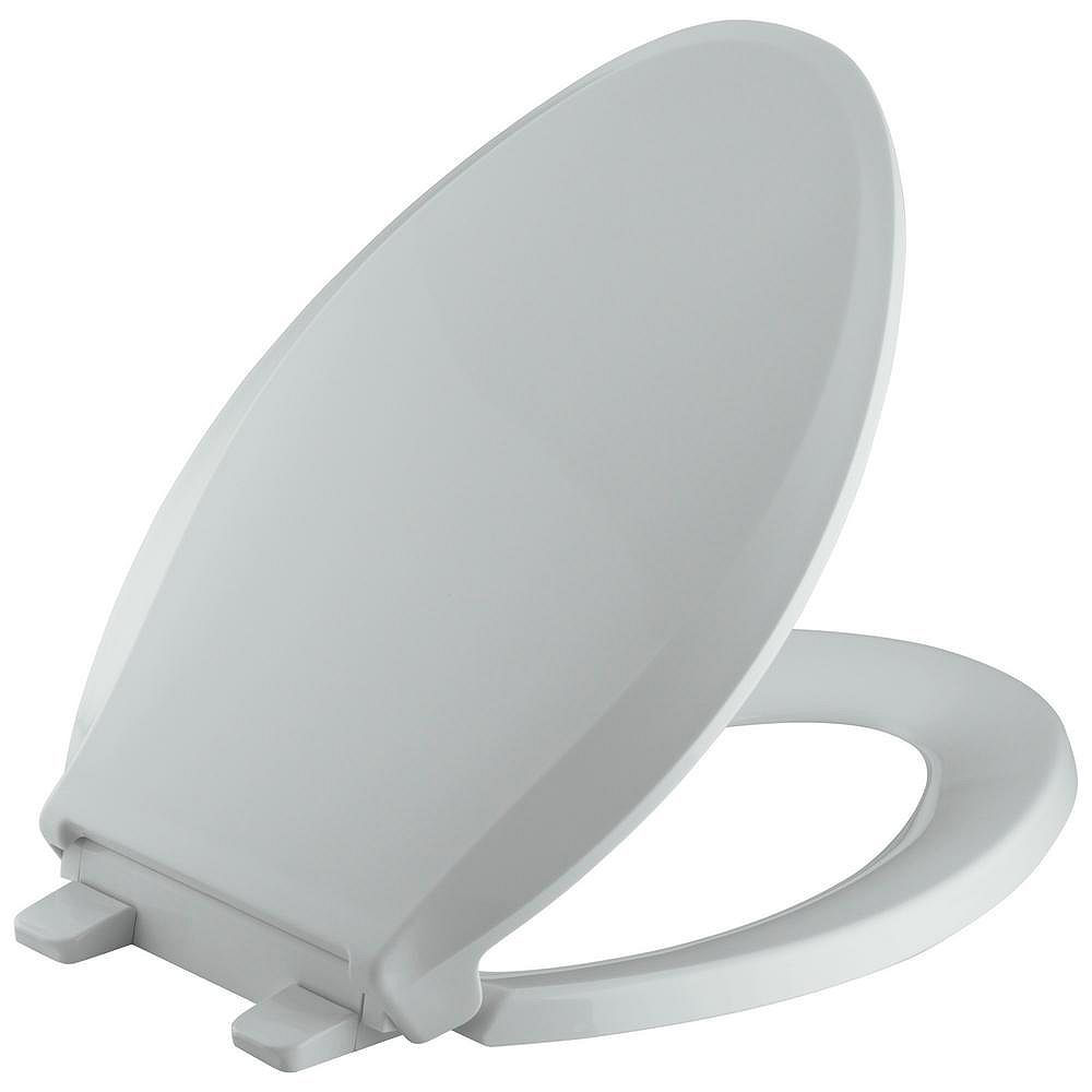 KOHLER Cachet Quiet-Close Elongated Toilet Seat in Ice Grey with Quick-Release Hinges