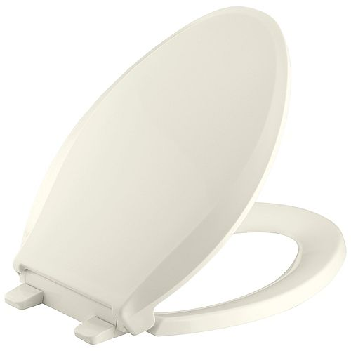 KOHLER Grip-Tight Cachet Q3 Elongated Closed-front Toilet Seat in Biscuit