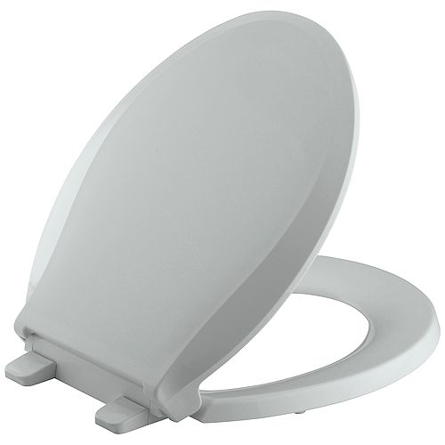 KOHLER Cachet Quiet-Close Round Front Closed-Front Toilet Seat with Grip-tight Bumpers in Ice Grey