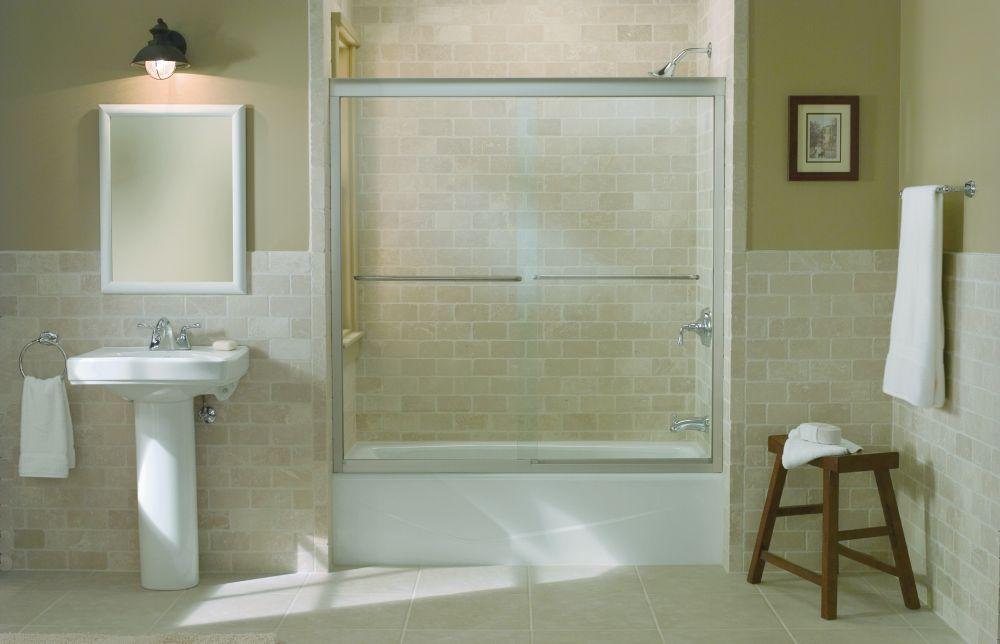 Fluence Frameless Bypass Bath Door in Matte Nickel