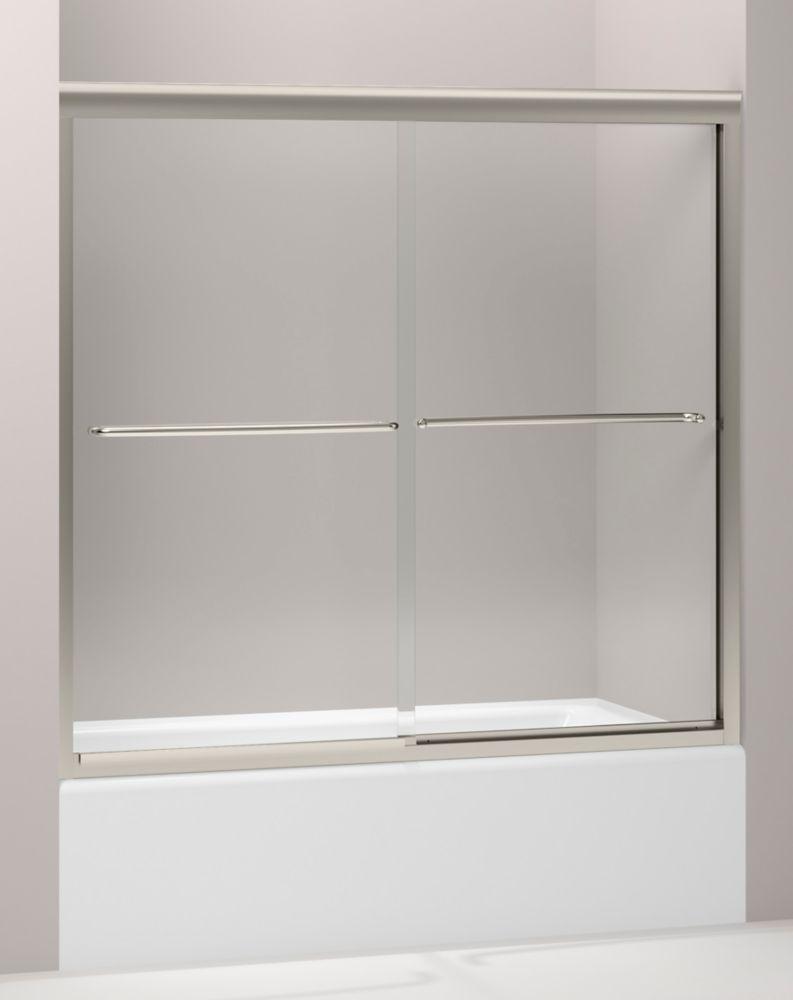 Porte de baignoire coulissante sans cadre Fluence(TM) avec verre en crystal clair, 57 po x 55-3/4...