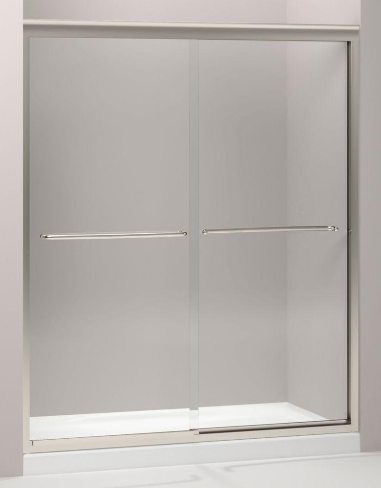 kohler porte de douche coulissante sans cadre fluence tm avec verre en crystal clair 59 5 8 po. Black Bedroom Furniture Sets. Home Design Ideas