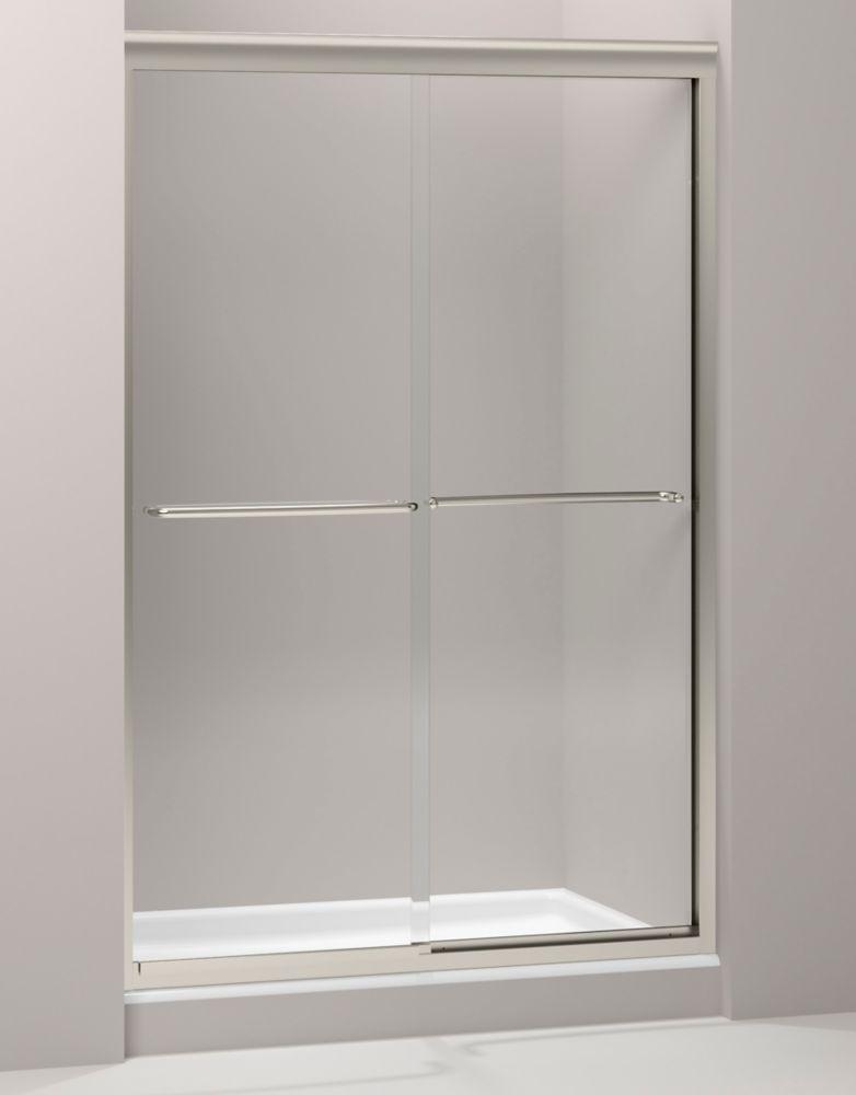 Porte de douche coulissante sans cadre Fluence(TM) avec verre en crystal clair, 47-5/8 po x 70-5/...