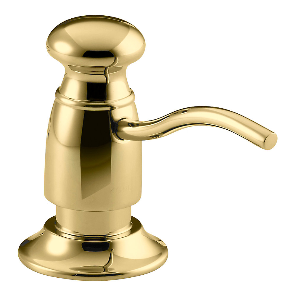 Soap/Lotion Dispenser With Traditional Design (Clam Shell Packed) in Vibrant Polished Brass
