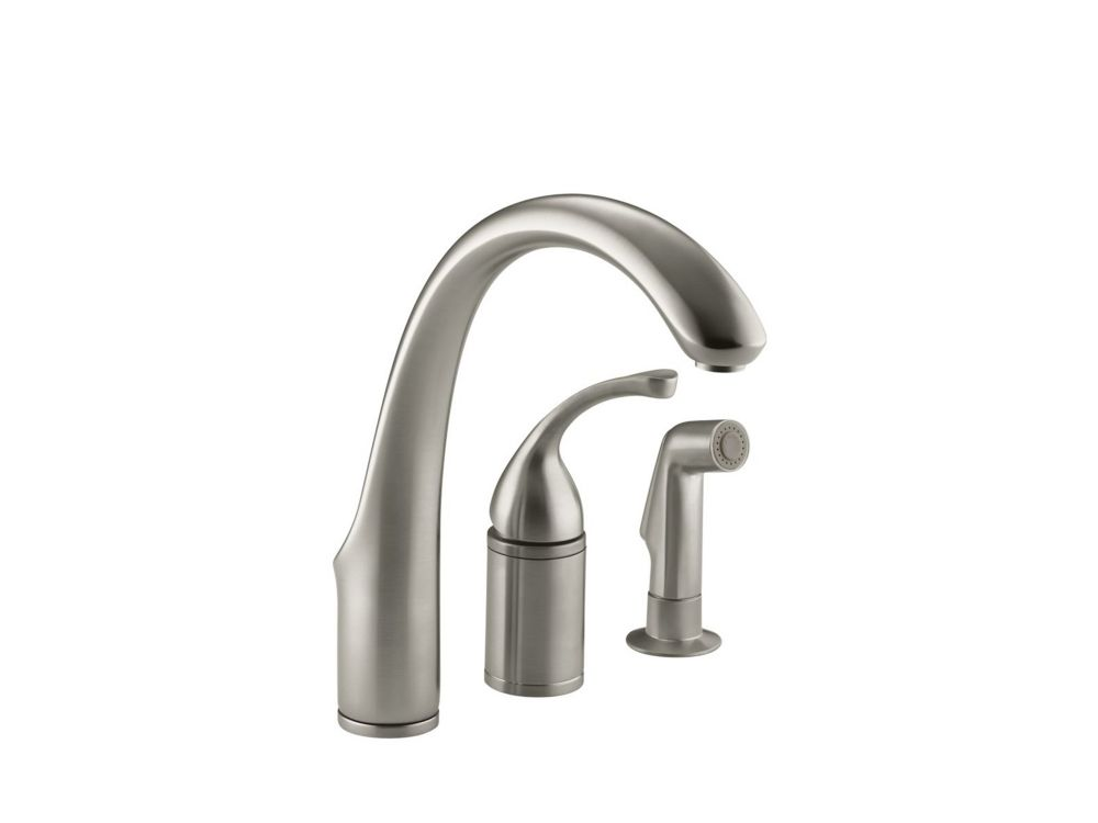 Fort Single-Control Remote Valve Kitchen Sink Faucet With Sidespray And Lever Handle in Vibrant Brushed Nickel K-10430-BN Canada Discount
