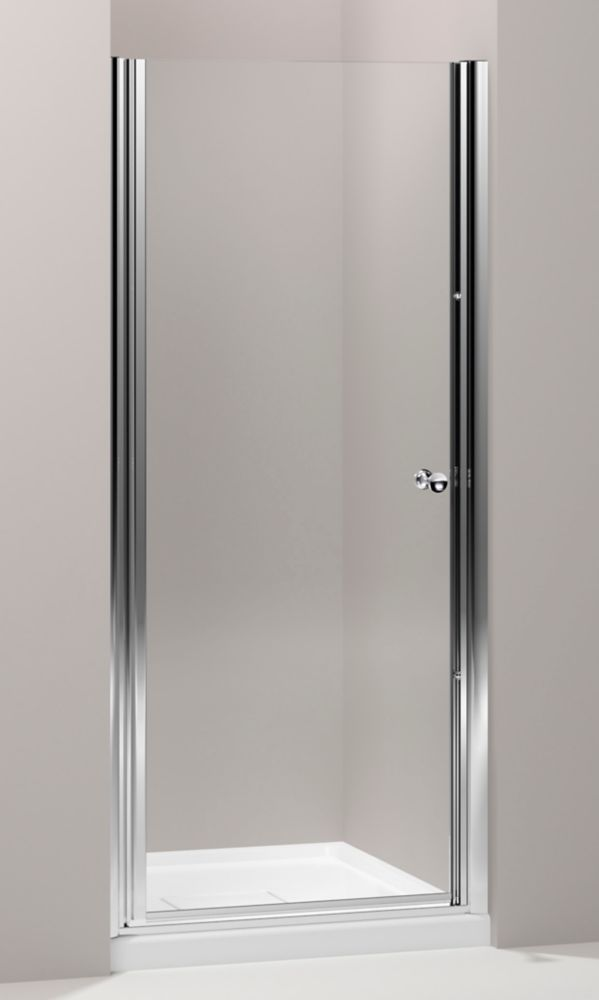 KOHLER Fluence 30-1/4-inch x 65-1/2-inch Semi-Frameless Pivot Shower Door in Bright Silver with Handle