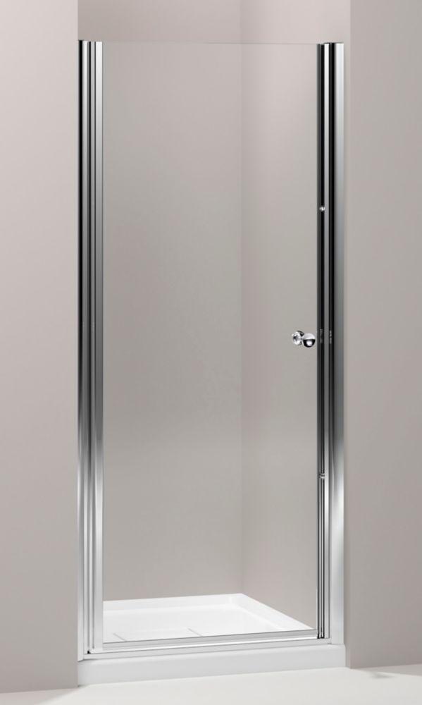 Porte de douche pivot sans cadre Fluence(TM) avec verre en crystal clair, 30 po - 31-1/2 po x 65-...