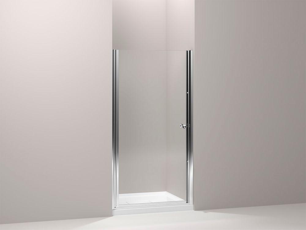 KOHLER Fluence 34-inch x 65-1/2-inch Semi-Frameless Pivot Shower Door in Bright-Silver with Handle