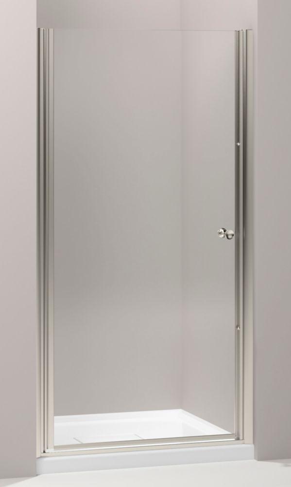 Porte de douche pivot sans cadre Fluence(TM) avec verre en crystal clair, 33-3/4 po - 35-1/4 po x...