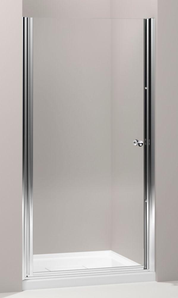 Porte de douche pivot sans cadre Fluence(TM) avec verre en crystal clair, 37-1/2 po - 39 po x 65-...
