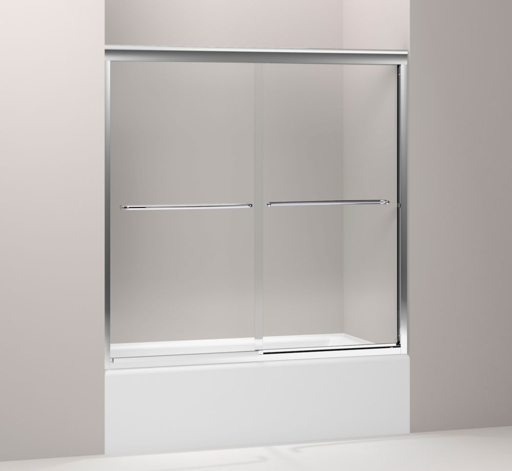 Fluence Frameless Bypass Bath Door in Bright Polished Silver K-702200-L-SHP Canada Discount