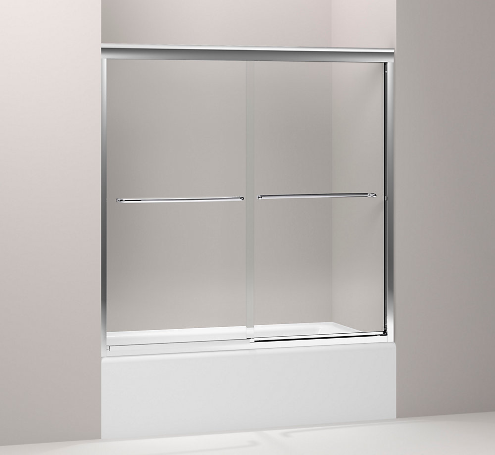 Fluence Frameless Bypass Bath Door in Bright Polished Silver