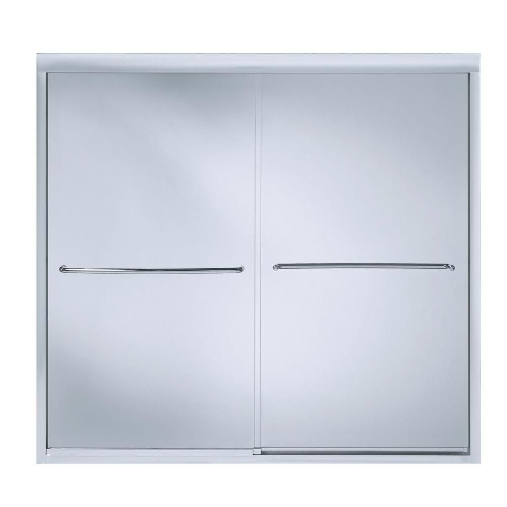 Porte de douche coulissante sans cadre Fluence(TM) avec verre en crystal clair, 59-5/8 po x 55-3/...