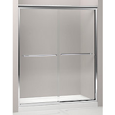 Fluence Frameless Bypass Shower Door in Bright Polished Silver