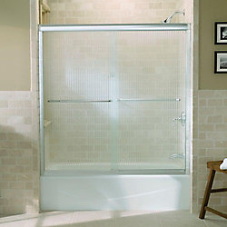 """KOHLER Fluence(R) sliding bath door, 58-5/16"""" H x 56-5/8 - 59-5/8"""" W, with 1/4"""" thick Falling Lines glass"""
