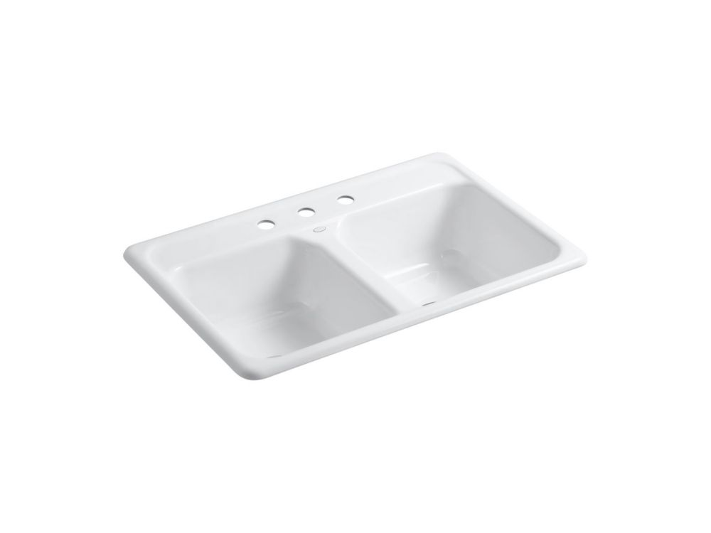 Delafield Self-Rimming Kitchen Sink in White K-5817-3-0 in Canada