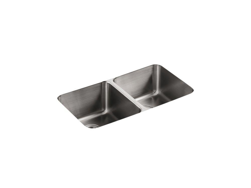 Évier de cuisine sous comptoir double égal Undertone(R) avec profondeurs de bassin de 9-1/2 po