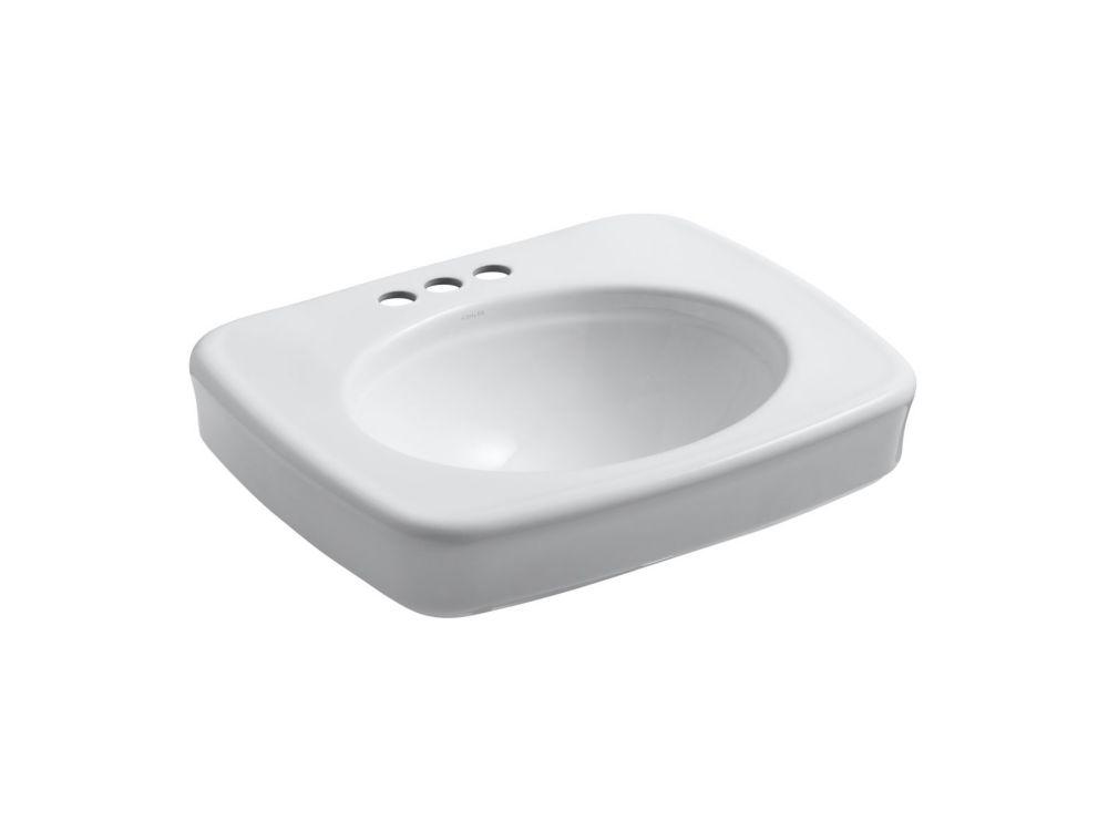 KOHLER Cuvette de lavabo de salle de bain sur colonne Bancroft avec trous pour robinet traditionnel de 4 po